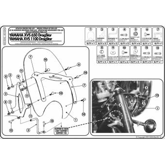 KAPPA AS102A2 YAMAHA XVS 650-1100 DRAGSTAR CLASSIC RÜZGAR SIPERLIK BAGLANTISI