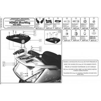 GIVI SR19M HONDA SILVERWING - ABS 400-600 (01-09) - SW-T 400-600 (09-17) ARKA ÇANTA TAŞIYICI
