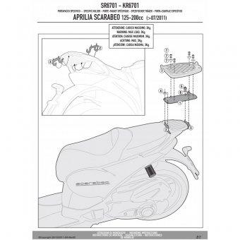 GIVI SR6701 APRILIA SCARABEO 125-200 (11-16) ARKA ÇANTA TASIYICI